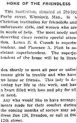 Home of the Friendless - Brandon Weekly Sun - March 14 1907 - page 8; http://newspaperarchive.com/ca/manitoba/brandon/brandon-weekly-sun/1907/03-14/page-8.
