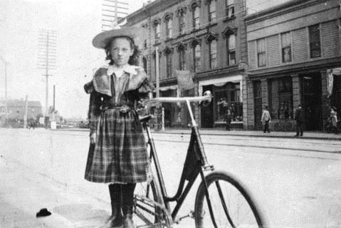 Jennie McGregor with bicycle; City of Vancouver Archives; Port P279.2 - Jennie [McGregor], City of Vancouver Archives, about 1898, http://searcharchives.vancouver.ca/jennie-mcgregor