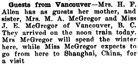 Mrs M A McGregor - visit to Twin Falls; Twin Falls Weekly News, Twin Falls, Idaho, September 23, 1920, page 8, http://twinfalls.newspaperarchive.com/twin-falls-weekly-news/1920-09-23/page-8/pageno-181926232?tag=mcgregor&rtserp=tags/mcgregor