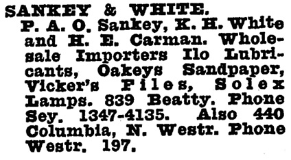 Sankey and White - Wrigley's British Columbia Directory - 1930 - page 1299