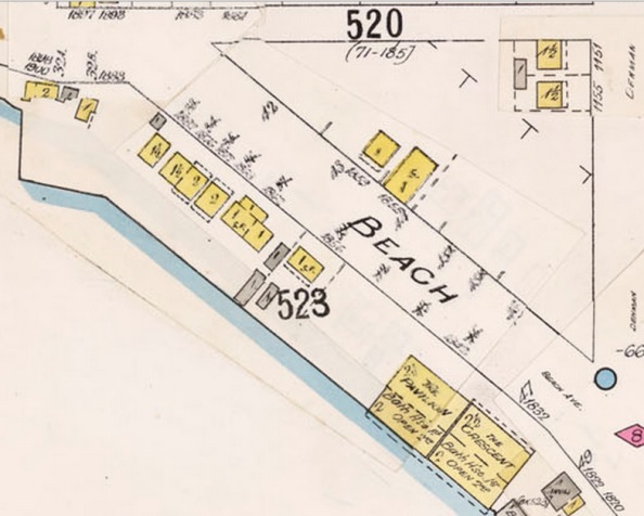1862 Beach Avenue - 1903 fire insurance plan; detail from Detail from Insurance plan - City of Vancouver, July 1897, revised June 1901 - Sheet 45 - Comox Street to English Bay and Bidwell Street to Stanley Park; http://data2.archives.ca/e/e427/e010674647-v8.jpg