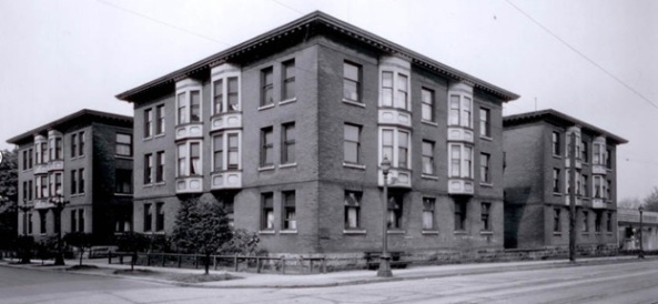 Bleinheim Court Apartments, May 8, 1943, [http://www.gordonnelsoninc.com/apartments/1209-jervis-street/; original source: http://www3.vpl.ca/spePhotos/LeonardFrankCollection/02DisplayJPGs/264/25992.jpg]