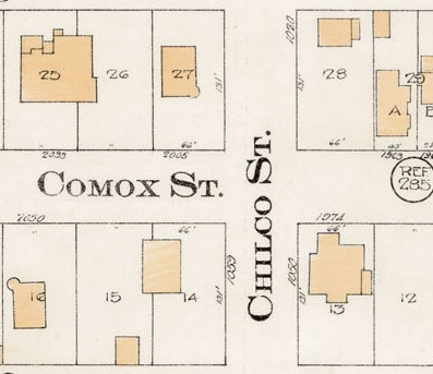 Chilco Street and Comox Street - Detail from Goad's Atlas of the city of Vancouver - 1912 - Vol 1 - Plate 8 - Barclay Street to English Bay and Cardero Street to Stanley Park