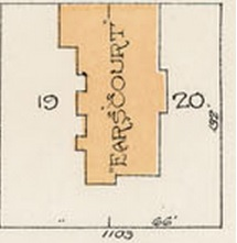 Earlscourt, Goad's atlas of the city of Vancouver, British Columbia and surrounding municipalities in four volumes. Volume One, July 1912, detail from plate 5; district lot 185, block 17, lots 19 and 20; http://data2.archives.ca/e/e428/e010689046-v8.jpg
