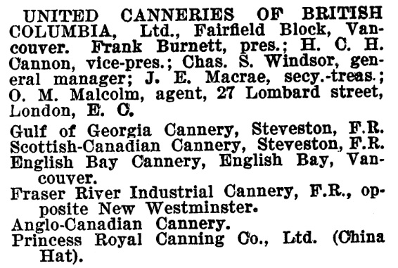 United Canneries of British Columbia - Henderson's BC Gazetteer and Directory - 1900-1901 - page 160