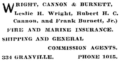 Wright Cannon and Burnett - Henderson's BC Gazetteer and Directory - 1901 - page 809