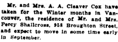 A A Cleaver Cox - move to 958 Broughton Street - Victoria Daily Colonist - August 24  1915 - page 6; https://archive.org/stream/dailycolonist57y220uvic#page/n5/mode/1up.