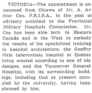 A Arthur Cox - appointment to Military Hospitals Commission - Business Notes - British Columbia Record - May 21 1917 - page 1; http://historicalnewspapers.library.ubc.ca/view/collection/bcrecord/date/1917-05-21#1!cox.