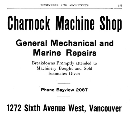 Charnock Machine Shop - Henderson's Greater Vancouver City Directory - 1914 - Part 1 - page 153