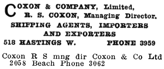 Coxon and Company Limited - Henderson's City of Vancouver and North Vancouver Directory - 1910 - Part 1 - page 648