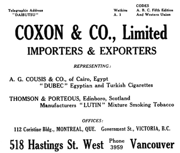 Coxon and Company Limited - Henderson's City of Vancouver and North Vancouver Directory - 1910 - Part 1 - page 98