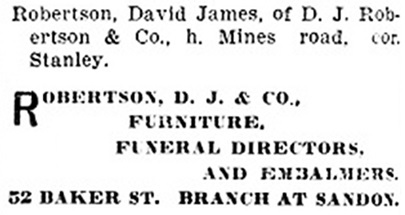 David James Robertson - D J Robertson and Company - Henderson's BC Gazetteer and Directory - 1903 - page 405 - Nelson