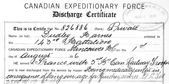 Dudley Barnes - Canadian Expeditionary Force - discharge certificate - detail;  http://central.bac-lac.gc.ca/.item/?op=pdf&app=CEF&id=B0445-S006