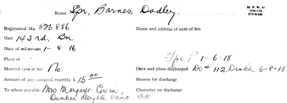 Dudley Barnes - Canadian Expeditionary Force - pay record - detail;  http://central.bac-lac.gc.ca/.item/?op=pdf&app=CEF&id=B0445-S006.