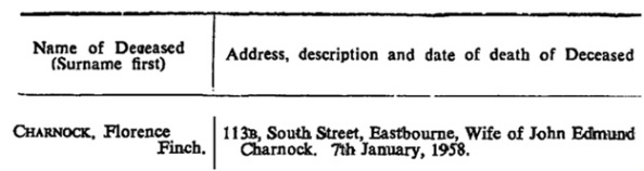 Florence Finch Charnock - The London Gazette - February 11 1958 - page 983 [extract]; https://www.thegazette.co.uk/London/issue/41308/page/983/data.pdf
