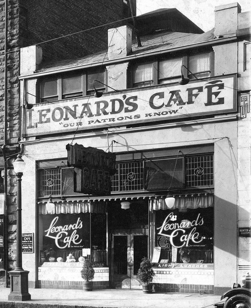 Leonard's Café, 716 West Hastings Street - 1920s - Vancouver City Archives - CVA 1399-390; detail from City of Vancouver Archives, CVA 1399-390 - [Photograph of the Williams Building, Hastings and Granville St., Vancouver B.C.]; http://searcharchives.vancouver.ca/photograph-of-williams-building-hastings-and-granville-st-vancouver-b-c-3.
