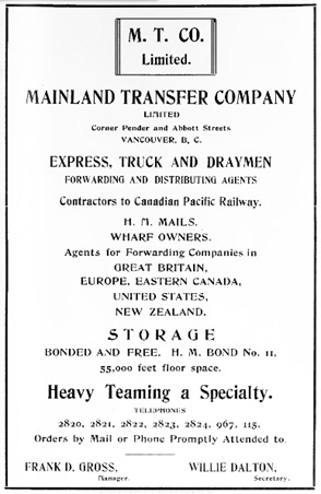 Mainland Transfer Company – advertisement, Westward Ho! Magazine, March 1908, page 87, http://issuu.com/showbc/docs/westward_ho_-_british_columbia_magazine_1908_march.