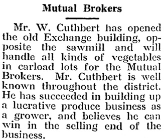 Mutual Brokers, Okanagan Commoner, July 11, 1918 , page 1, http://historicalnewspapers.library.ubc.ca/view/collection/enderby/date/1918-07-11#1