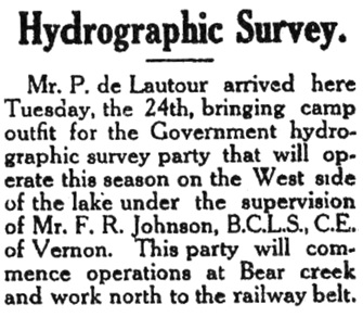 P. de Lautour, Hydrographic Survey, Kelowna, Orchard City Record, May 26, 1910, page 1, http://historicalnewspapers.library.ubc.ca/info/collection/orchardcity.