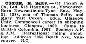 R. Selby Coxon, Who's Who in Western Canada, Volume 1, Vancouver, Canadian Press Association Ltd., 1911, page 148, http://www.ourroots.ca/e/page.aspx?id=643142.