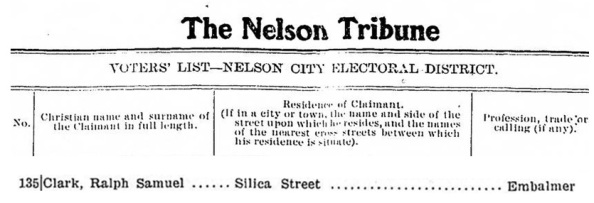 Ralph Samuel Clark - Voters List - Nelson Tribune, September 9  1903 - page 2; Nelson Tribune, September 9, 1903, page 2 (selected excerpts), http://historicalnewspapers.library.ubc.ca/view/collection/tribune/date/1903-09-09#2.