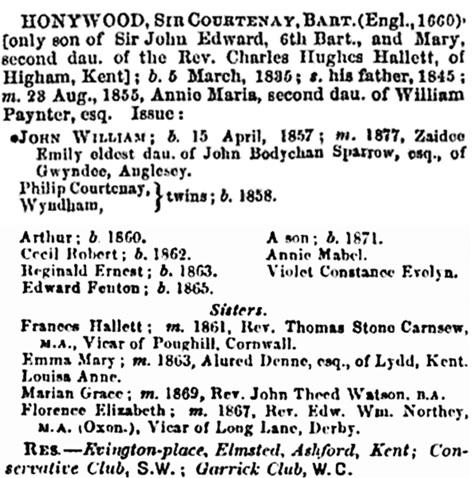 Sir Courtenay Honeywood - Baronet - Thom's Directory of Ireland - 1878 - pages 341-342; https://books.google.ca/books?id=dkA9AQAAMAAJ&pg=PA342&lpg=PA342&dq=%22thomas+stone+carnsew%22&source=bl&ots=bk1t5Q2jq2&sig=pTRF4FgVDpr_sbwv1Ij8GdXc0DQ&hl=en&sa=X&ei=Ls3yVP7VA8znoASl74FA&ved=0CDcQ6AEwCQ#v=onepage&q=%22thomas%20stone%20carnsew%22&f=false
