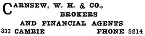 W H Carnsew and Company - Henderson's Greater Vancouver Directory - 1911 - page 549
