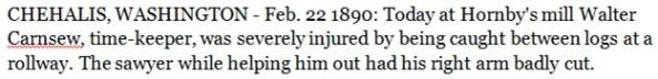 Walter Carnsew - injury at Hornby's mill - Chehalis - Washington - February 22 1890; Walter Henry Carnsew, http://wc.rootsweb.ancestry.com/cgi-bin/igm.cgi?op=GET&db=dawnajl&id=I19885.