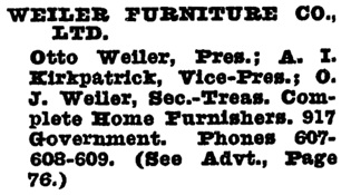 Weiler Furniture Company - Wrigley's British Columbia Directory - 1930 - page 1891 (Victoria)