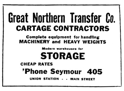 Great Northern Transfer Company - British Columbia Record - April 17 1918 - page 2; http://historicalnewspapers.library.ubc.ca/view/collection/bcrecord/date/1918-04-17#2!great+northern