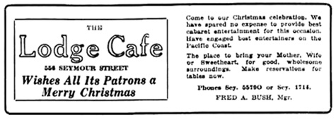 Lodge Cafe - advertisement - Vancouver Daily World - December 24 1920 - page 8