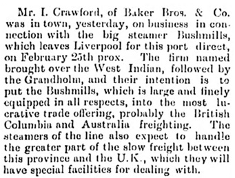 Mr I Crawford of Baker Brothers and Company - Victoria Daily Colonist - January 16 1892 - page 7; http://fultonhistory.com/Newspapers%2021/Vicroria%20BC%20Daily%20Colonist/Vicroria%20BC%20Daily%20Colonist%20%20%201892/Vicroria%20BC%20Daily%20Colonist%201892%20%28107%29.pdf