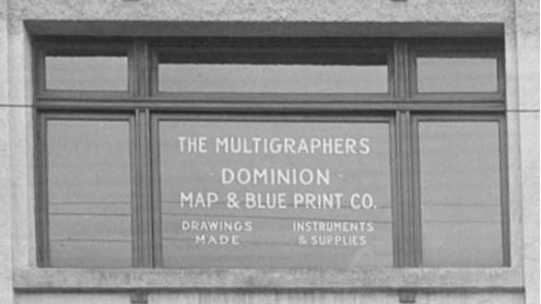 Multigraphers Dominion Map and Blue Print Company, detail from Vancouver City Archives - Bu N290.1 - [Arts and Crafts building at 576 Seymour Street], 1927, http://searcharchives.vancouver.ca/arts-and-crafts-building-at-576-seymour-street