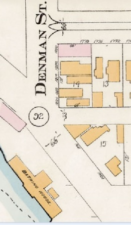 1200 Block Denman Street - detail from Goad's Atlas of the city of Vancouver - 1912 - Vol 1 - Plate 15 - Broughton Street to Denman Street and Davie Street to English Bay