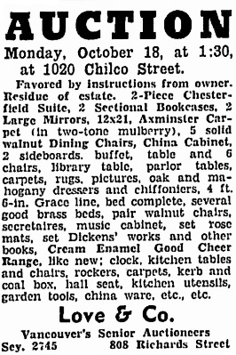 Auction Notice, 1020 Chilco Street, Vancouver Sun, October 16, 1937, page 24; column 5: https://news.google.com/newspapers?id=wTBlAAAAIBAJ&sjid=GokNAAAAIBAJ&pg=4953%2C2172632 [Link leads to auction notice directly above this notice.]