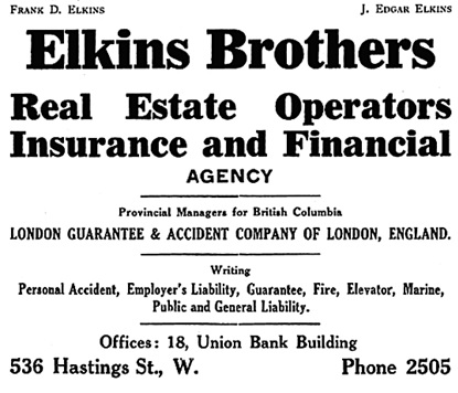 Elkins Brothers - Henderson's City of Vancouver and North Vancouver Directory -  1909 - page 34