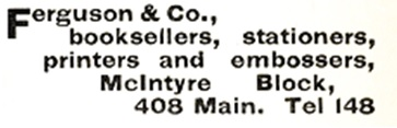 Ferguson and Company, Henderson's Directory of the City of Winnipeg, 1891, page 203, http://peel.library.ualberta.ca/bibliography/921.2.2/145.html