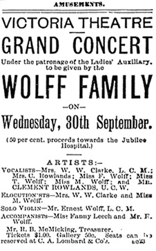 """Grand Concert . . . by the Wolff Family,"" Victoria Daily Colonist, September 27, 1891, page 5, http://archive.org/stream/dailycolonist18910927uvic/18910927#page/n3/mode/1up"