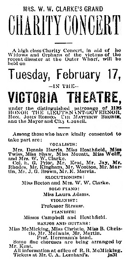 """Mrs. W.W. Clarke's Grand Charity Concert,"" Victoria Daily Colonist, February 14, 1891, page 5, http://archive.org/stream/dailycolonist18910214uvic/18910214#page/n3/mode/1up"