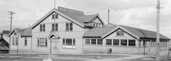 [News-Advertiser publishing office building at the corner of Cambie and Pender Streets]; Vancouver City Archives, SGN 1457, about 1900, http://searcharchives.vancouver.ca/news-advertiser-publishing-office-building-at-corner-of-cambie-and-pender-streets