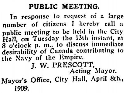 Notice of Public Meeting, B.C. Saturday Sunset, April 10, 1909, page 8, column 1 (near bottom); http://content.lib.sfu.ca/cdm/compoundobject/collection/bcss/id/1544/rec/9