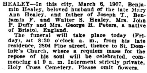 Benjamin Healy, Death Notice, San Francisco Call, Volume 101, Number 98, 8 March 1907, page 15, http://cdnc.ucr.edu/cgi-bin/cdnc?a=d&d=SFC19070308.2.124.3#.