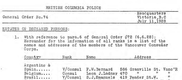 British Columbia Police, General Order No. 74, http://nbca.library.unbc.ca/files/2013/10/General-Orders-Nos.-63-96-Severed-1928-1929.pdf [Page 23 of PDF document.]