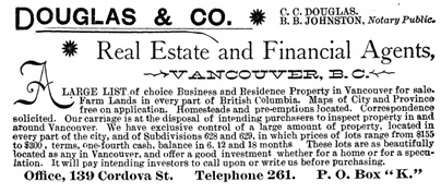 Douglas and Company; Williams' Illustrated Official BC Directory, 1892, part 1, un-paginated, possibly page 678