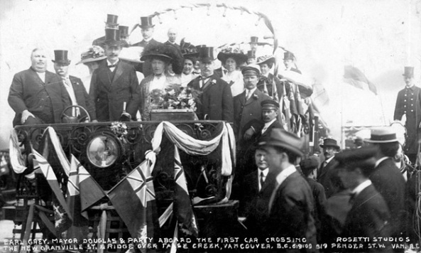 Earl Grey, Mayor Douglas & Party Aboard the First Car Crossing the New Granville St. Bridge over False Creek, Vancouver, B.C., Vancouver City Archives, Br P79.2; http://searcharchives.vancouver.ca/index.php/earl-grey-mayor-douglas-party-aboard-first-car-crossing-new-granville-st-bridge-over-false-creek-vancouver-b-c