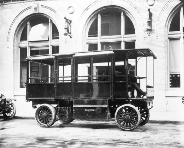Electric storage battery operated truck outside B.C. Electric Railway Co. building on Carrall Street, about 1913, Vancouver city Archives, AM54-S4-: LGN 1265, http://searcharchives.vancouver.ca/index.php/electric-storage-battery-operated-truck-outside-b-c-electric-railway-co-building-on-carrall-street