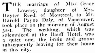 Grace Lowrey and Harold Payne [sic] Daly - Social and Personal - BC Saturday Sunset - September 10 1910 - page 8; http://content.lib.sfu.ca/cdm/compoundobject/collection/bcss/id/3046/rec/3