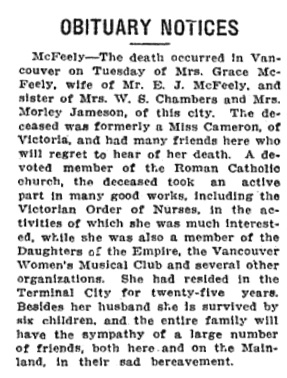 Grace McFeely - obituary notice - Victoria Daily Colonist - March 21  1912 - page 7; http://archive.org/stream/dailycolonist5785uvic#page/n6/mode/1up/search/mcfeely