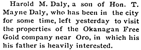 Harold M. Daly - Boundary Creek Times - May 6 1899 - page 1