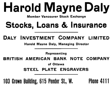 Harold Mayne Daly, Henderson's City of Vancouver and North Vancouver Directory, 1909, page 40.